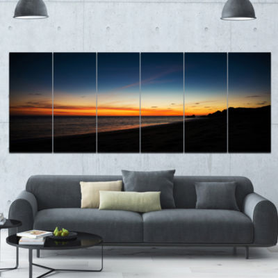 Sunset Over Beach In Cabo St.Lucas Landscape Canvas Art Print - 6 Panels