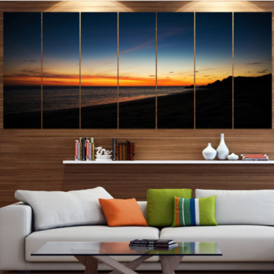 Sunset Over Beach In Cabo St.Lucas Landscape Canvas Art Print - 7 Panels