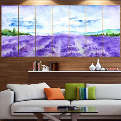 Designart Blue Lavender Fields Watercolor Landscape Canvas Art Print - 4 Panels