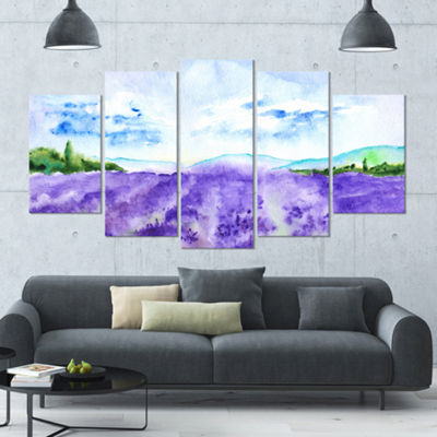 Designart Blue Lavender Fields Watercolor Landscape Large Canvas Art Print - 5 Panels