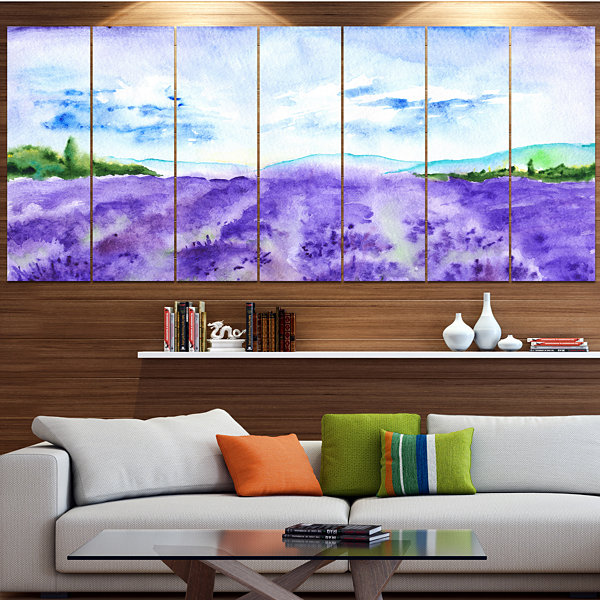 Designart Blue Lavender Fields Watercolor Landscape Canvas Art Print - 5 Panels