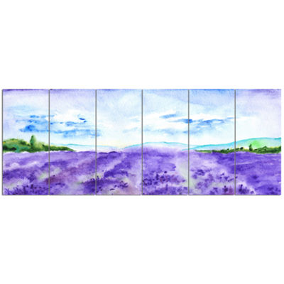 Designart Blue Lavender Fields Watercolor Landscape Canvas Art Print - 6 Panels