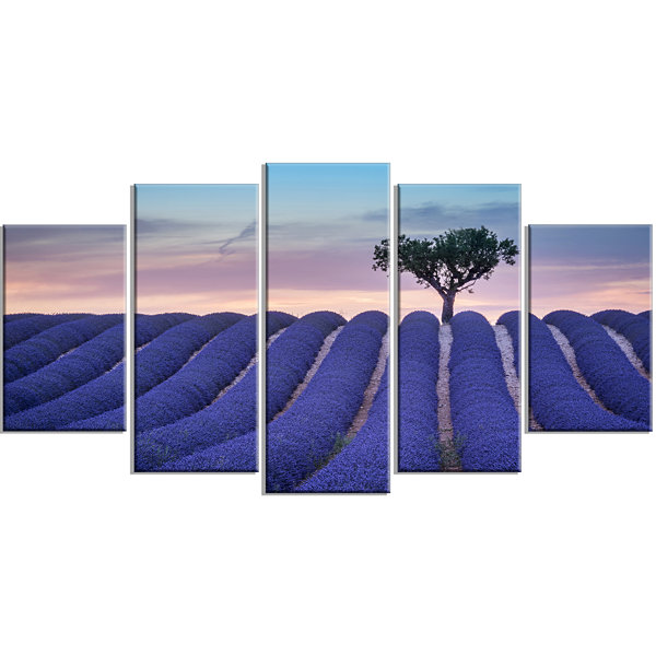 Design Art Lonely Trees Uphill On Sunset LandscapeLarge Canvas Art Print - 5 Panels
