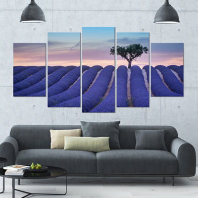 Designart Lonely Trees Uphill On Sunset LandscapeLarge Canvas Art Print - 5 Panels