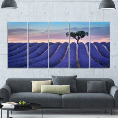 Lonely Trees Uphill On Sunset Landscape Canvas ArtPrint - 5 Panels