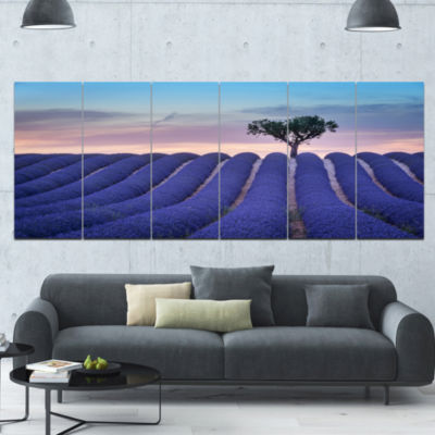 Lonely Trees Uphill On Sunset Landscape Canvas ArtPrint - 6 Panels