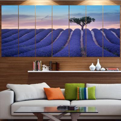 Designart Lonely Trees Uphill On Sunset LandscapeCanvas Art Print - 7 Panels