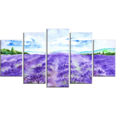 Lavender Fields Watercolor Landscape Large CanvasArt Print - 5 Panels