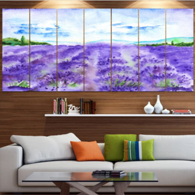 Designart Lavender Fields Watercolor Landscape Canvas Art Print - 6 Panels