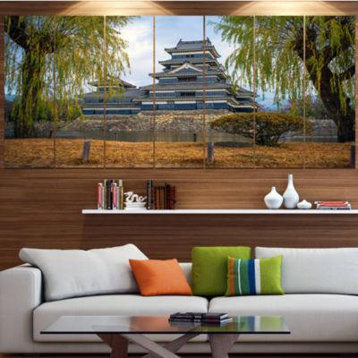 Designart Matsumoto Castle Japan Landscape CanvasArt Print- 4 Panels