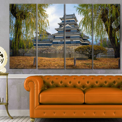 Matsumoto Castle Japan Landscape Canvas Art Print- 4 Panels