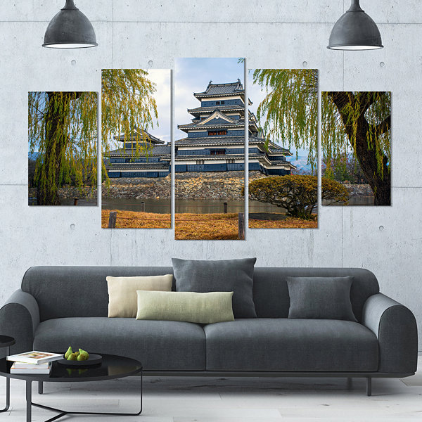 Designart Matsumoto Castle Japan Landscape LargeCanvas Art Print - 5 Panels