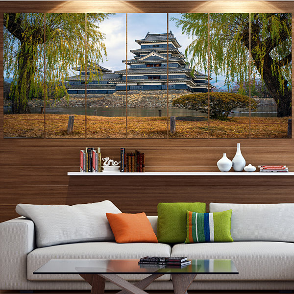 Design Art Matsumoto Castle Japan Landscape CanvasArt Print- 7 Panels