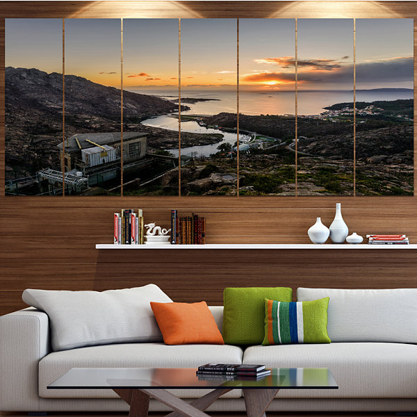 Designart Ezaro Panorama Galicia Spain LandscapeCanvas Art Print - 4 Panels