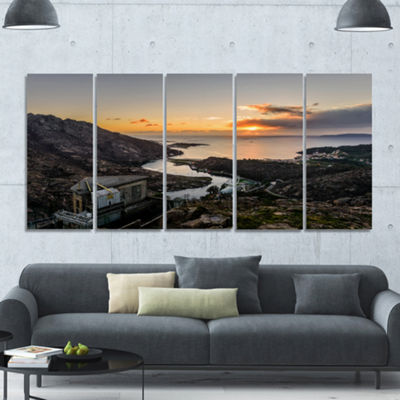 Designart Ezaro Panorama Galicia Spain LandscapeCanvas Art Print - 5 Panels