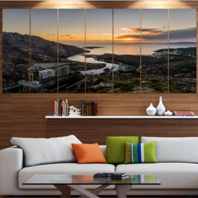 Designart Ezaro Panorama Galicia Spain LandscapeCanvas Art Print - 7 Panels