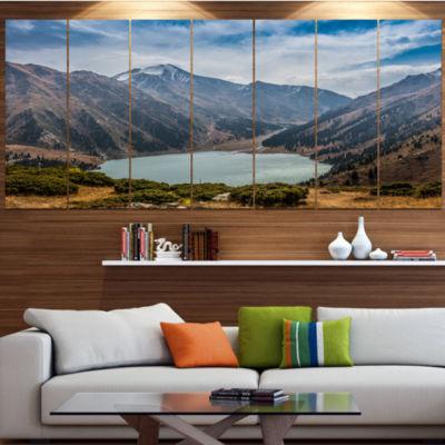 Designart Mountain Lake Under Blue Sky LandscapeCanvas Art Print - 5 Panels