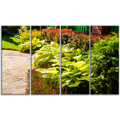 Designart Modern Green Garden Design Landscape Canvas Art Print - 4 Panels