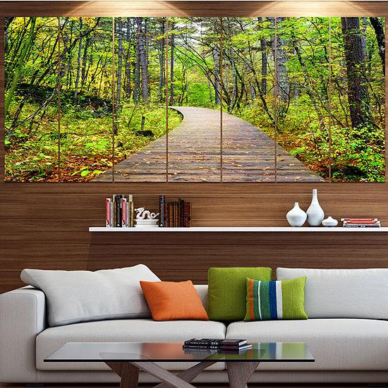 Designart Wooden Boardwalk Across Forest Landscapelarge Canvas Art Print 5 Panels