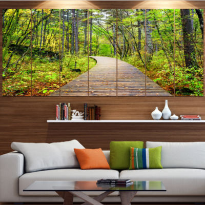Designart Wooden Boardwalk Across Forest LandscapeCanvas Art Print - 6 Panels