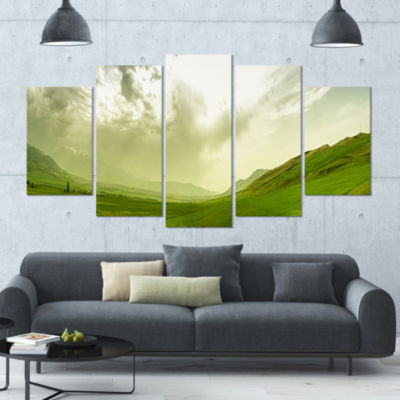 Meadow Under Clouds Panorama Landscape Large Canvas Art Print - 5 Panels