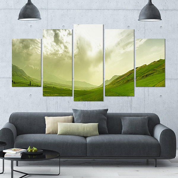 Design Art Meadow Under Clouds Panorama LandscapeLarge Canvas Art Print - 5 Panels