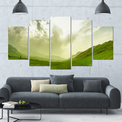 Designart Meadow Under Clouds Panorama LandscapeLarge Canvas Art Print - 5 Panels