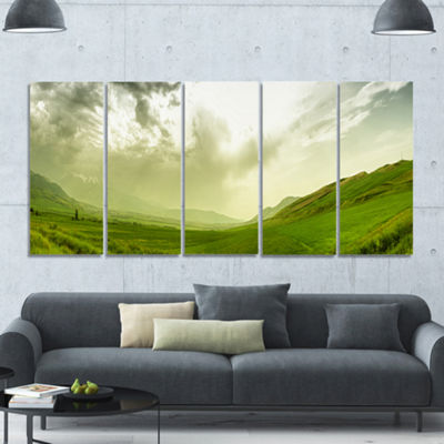 Designart Meadow Under Clouds Panorama LandscapeCanvas Art Print - 5 Panels