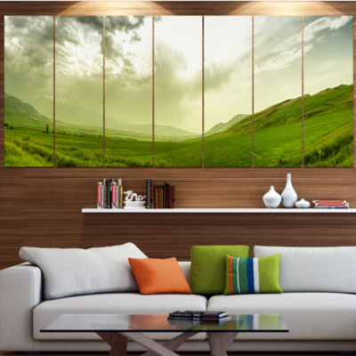Designart Meadow Under Clouds Panorama LandscapeCanvas Art Print - 6 Panels