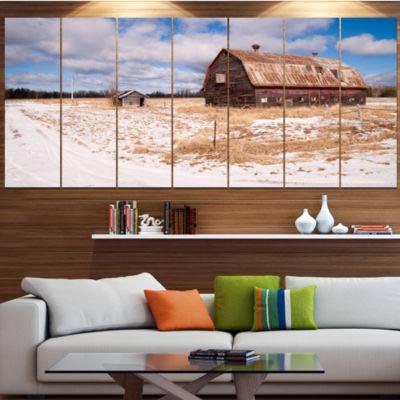 Designart Farm Field Barn Ranch Landscape CanvasArt Print -7 Panels