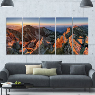 Majestic Sunset In Fall Mountains Landscape CanvasArt Print - 5 Panels