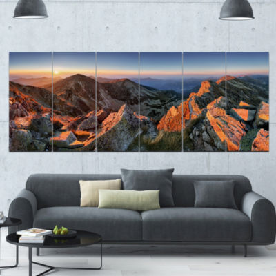 Majestic Sunset In Fall Mountains Landscape CanvasArt Print - 6 Panels