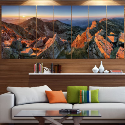 Majestic Sunset In Fall Mountains Landscape CanvasArt Print - 7 Panels