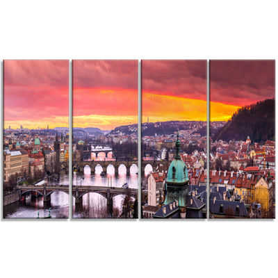 Designart Bridges In Prague Panorama Landscape Canvas Art Print - 4 Panels