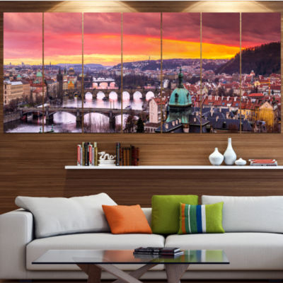 Designart Bridges In Prague Panorama Landscape Canvas Art Print - 5 Panels