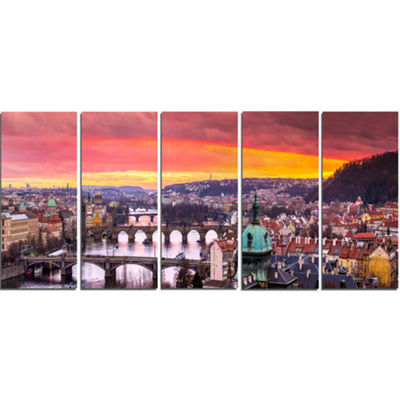 Designart Bridges In Prague Panorama Landscape Canvas Art Print - 5 Panels