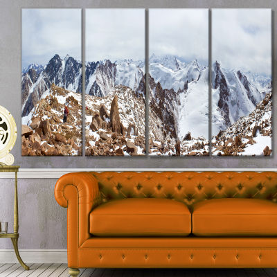 Designart Climbers On The Mountain Top LandscapeCanvas Art Print - 4 Panels