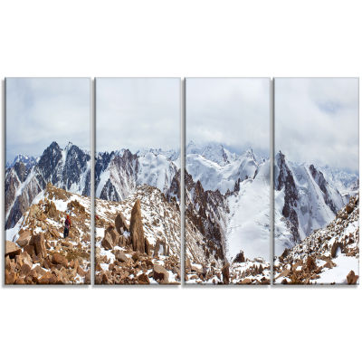 Climbers On The Mountain Top Landscape Canvas ArtPrint - 4 Panels