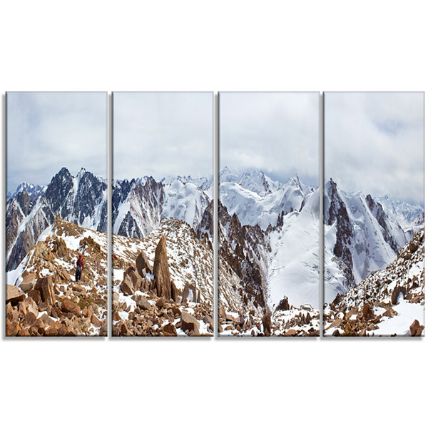 Design Art Climbers On The Mountain Top LandscapeCanvas Art Print - 4 Panels