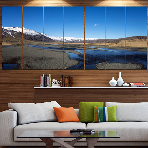 Design Art Mountains And Lakes Iceland Landscape Canvas Art Print - 4 Panels