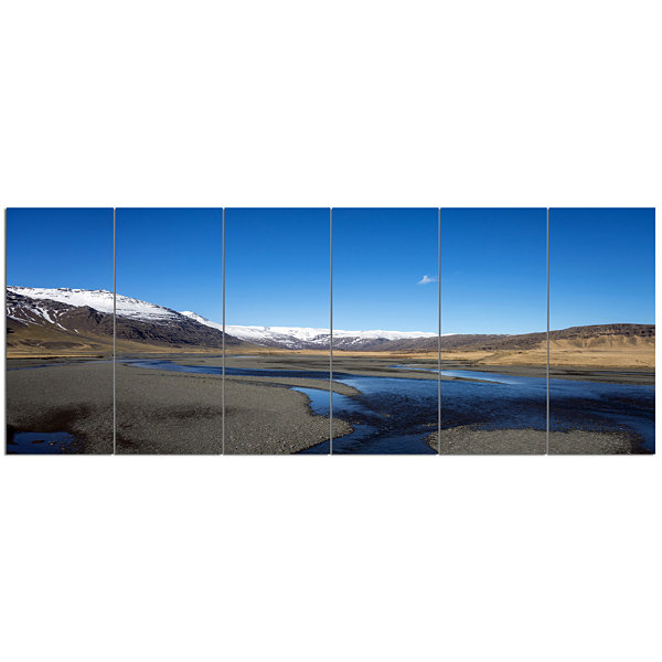 Design Art Mountains And Lakes Iceland Landscape Canvas Art Print - 6 Panels