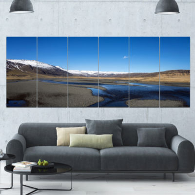Mountains And Lakes Iceland Landscape Canvas Art Print - 6 Panels