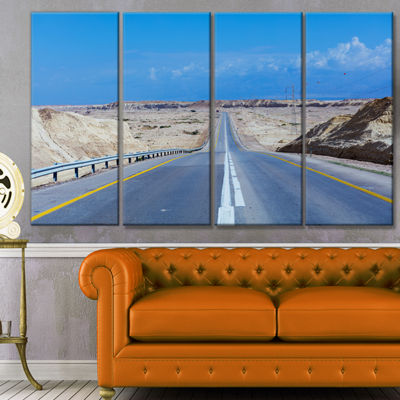 Designart Beautiful Desert Road Israel LandscapeCanvas Art Print - 4 Panels