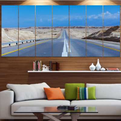 Designart Beautiful Desert Road Israel LandscapeCanvas Art Print - 7 Panels
