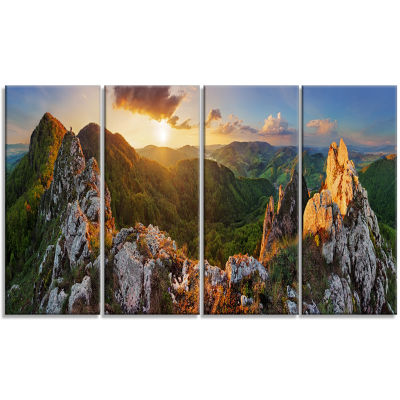 Panorama Mountains Slovakia Landscape Canvas Art Print - 4 Panels