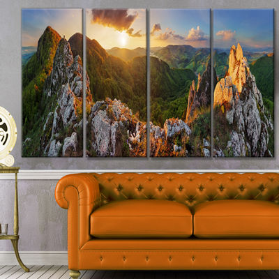Designart Panorama Mountains Slovakia Landscape Canvas Art Print - 4 Panels