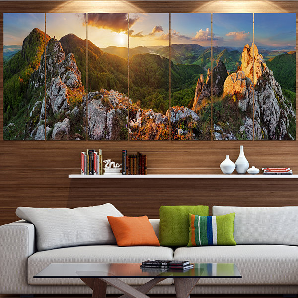 Designart Panorama Mountains Slovakia Landscape Large Canvas Art Print - 5 Panels