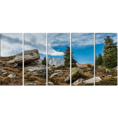 Tien Shan Mountains In Almaty Landscape Canvas ArtPrint - 5 Panels