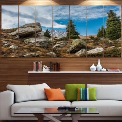 Designart Tien Shan Mountains In Almaty LandscapeCanvas Art Print - 7 Panels
