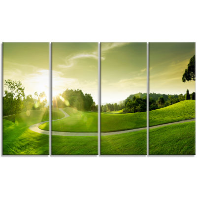 Beautiful Green Valley Panorama Landscape Canvas Art Print - 4 Panels